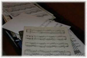 Piano sheet music and books