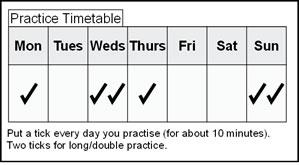 piano practice timetable