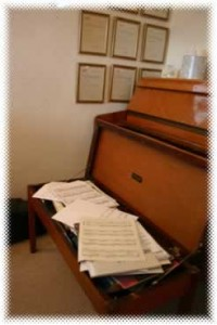 piano stool and sheet music